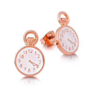 Disney Alice in Wonderland Clock Stud Earrings