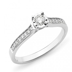 Diamond Shoulder Stone Engagement Ring - 2303-18WD-3