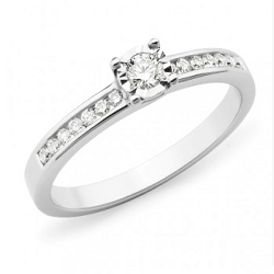 Diamond Shoulder Stone Engagement Ring - 2305-18WD-3