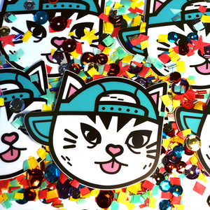 Cat in a Blue Hat Sticker