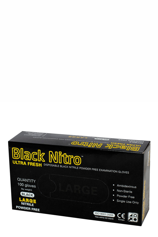 Black Nitro Ultra Fresh Nitrile Powder Free Gloves 100pc