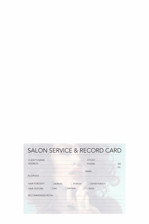 Hairdressing Record Cards