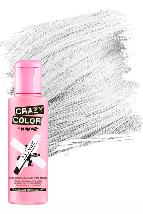 Crazy Colour Semi Permanent Hair Colour Cream 100ml - 27. Silver
