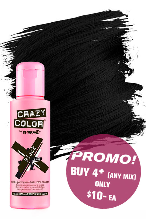 Crazy Colour Semi Permanent Hair Colour Cream 100ml - 30. Black