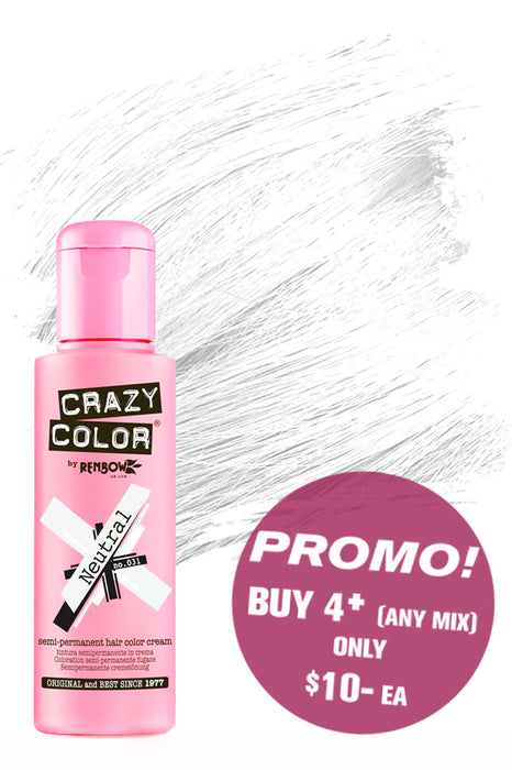 Crazy Colour Semi Permanent Hair Colour Cream 100ml - 31. Neutral
