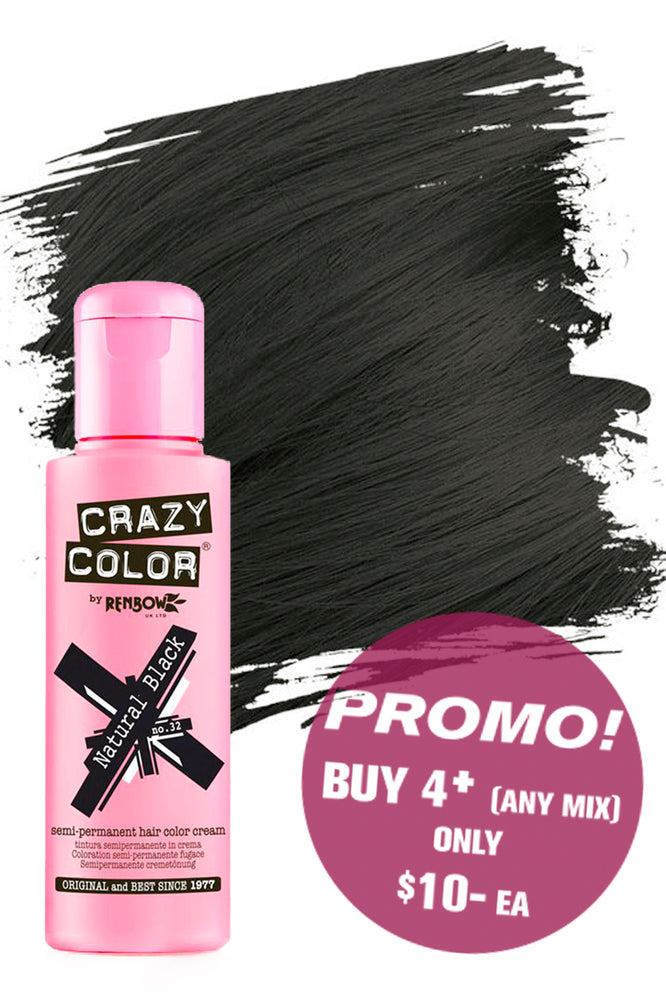 Crazy Colour Semi Permanent Hair Colour Cream 100ml - 32. Natural Black