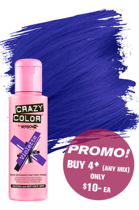 Crazy Colour Semi Permanent Hair Colour Cream 100ml - 43. Violette