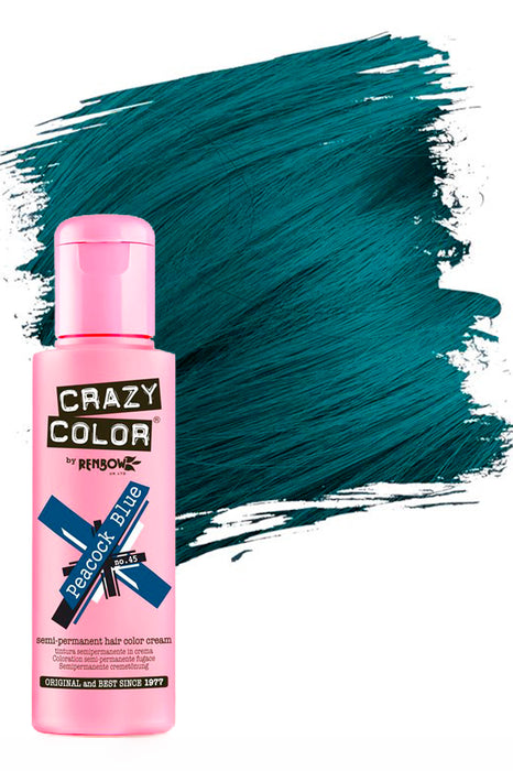 Crazy Colour Semi Permanent Hair Colour Cream 100ml - 45. Peacock Blue