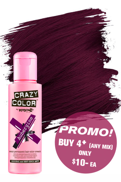 Crazy Colour Semi Permanent Hair Colour Cream 100ml - 50. Aubergine