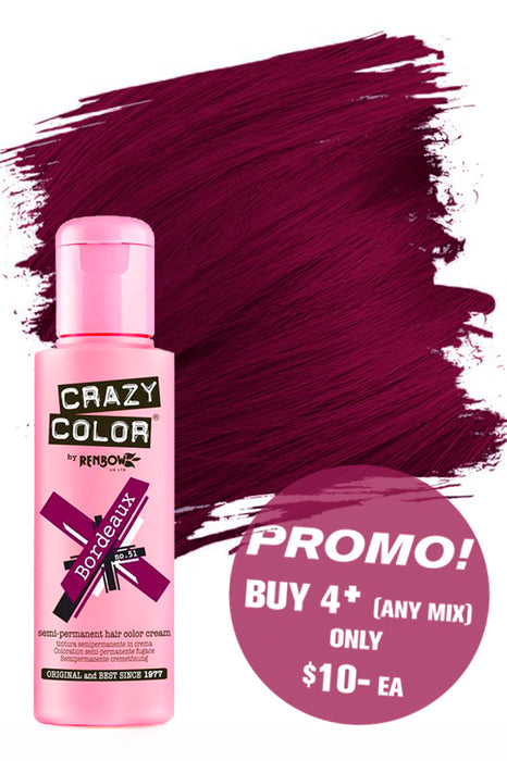 Crazy Colour Semi Permanent Hair Colour Cream 100ml - 51. Bordeaux
