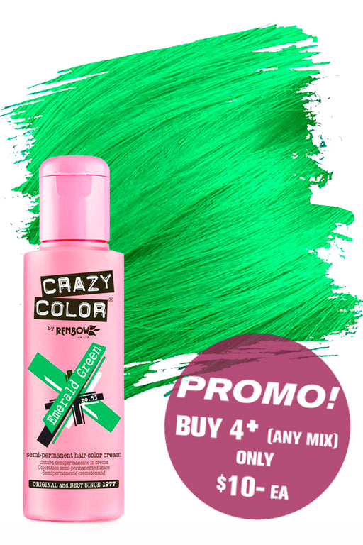 Crazy Colour Semi Permanent Hair Colour Cream 100ml - 53. Emerald Green