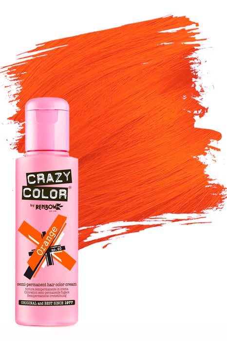 Crazy Colour Semi Permanent Hair Colour Cream 100ml - 60. Orange