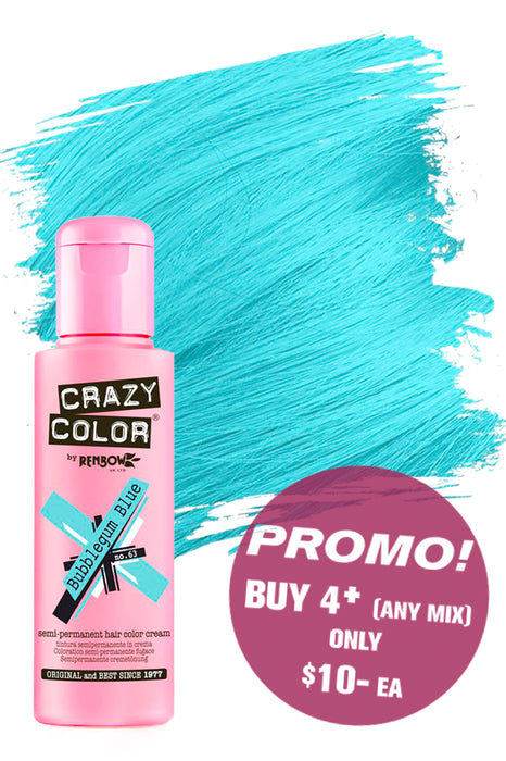 Crazy Colour Semi Permanent Hair Colour Cream 100ml - 63. Bubblegum Blue