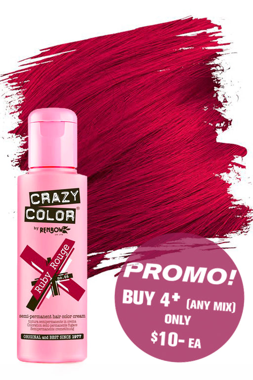 Crazy Colour Semi Permanent Hair Colour Cream 100ml - 66. Ruby Rouge