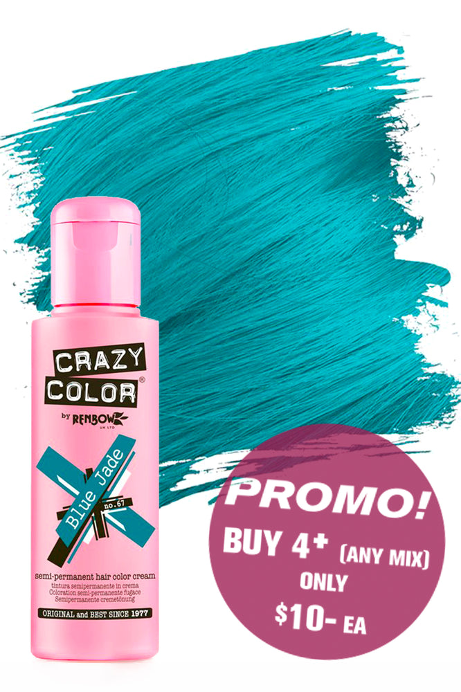Crazy Colour Semi Permanent Hair Colour Cream 100ml - 67. Blue Jade