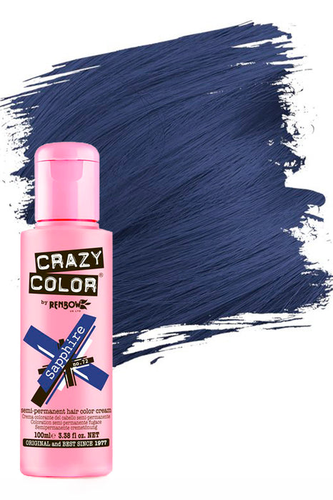 Crazy Colour Semi Permanent Hair Colour Cream 100ml - 72. Sapphire