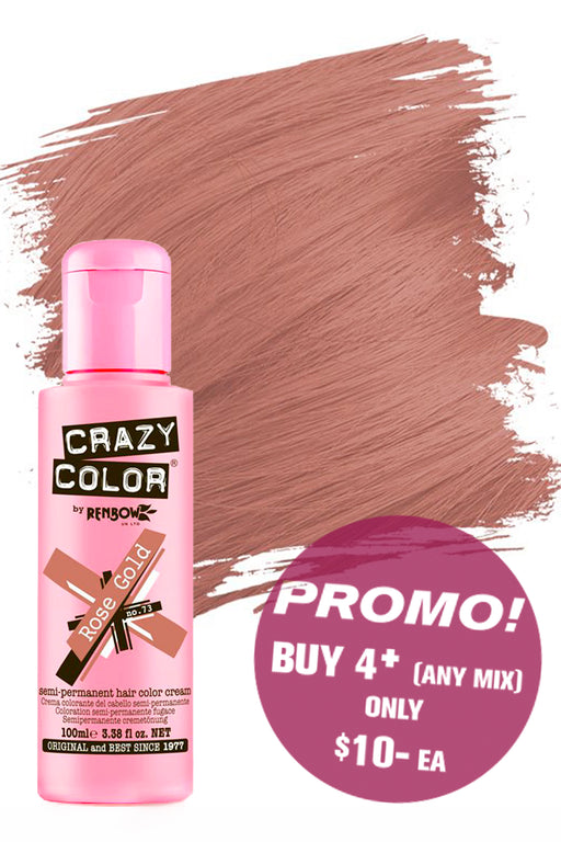 Crazy Colour Semi Permanent Hair Colour Cream 100ml - 73. Rose Gold