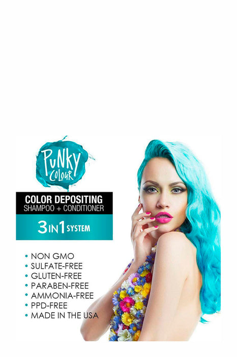 Punky Colour 3-in-1 Colour Depositing Shampoo & Conditioner 250ml - Tealistic