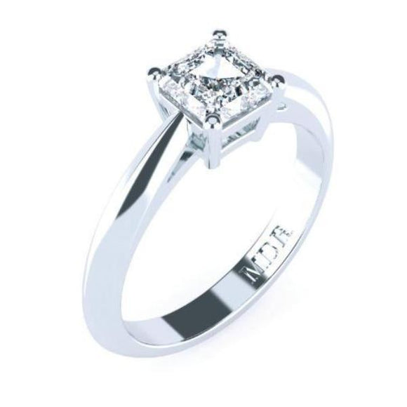 Solitaire  Assher cut diamond platinum ring