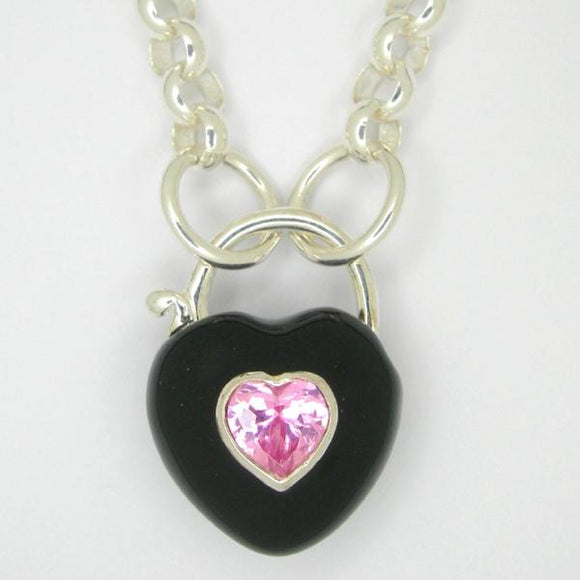 Heart Padlock necklace, Black enamel pink zirconia