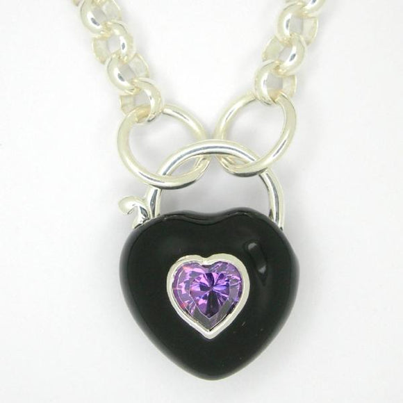 Heart Padlock necklace, Black enamel purple zirconia