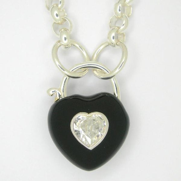 Heart Padlock necklace, Black enamel white zirconia