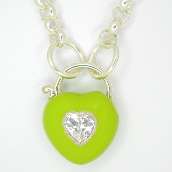 Heart Padlock necklace, Green enamel white zirconia