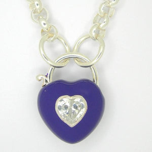 Heart Padlock necklace, Purple enamel white zirconia