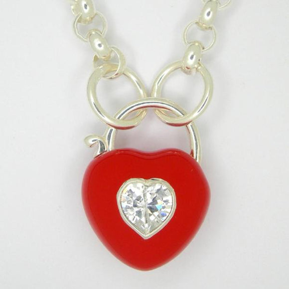 Heart Padlock necklace, Red enamel