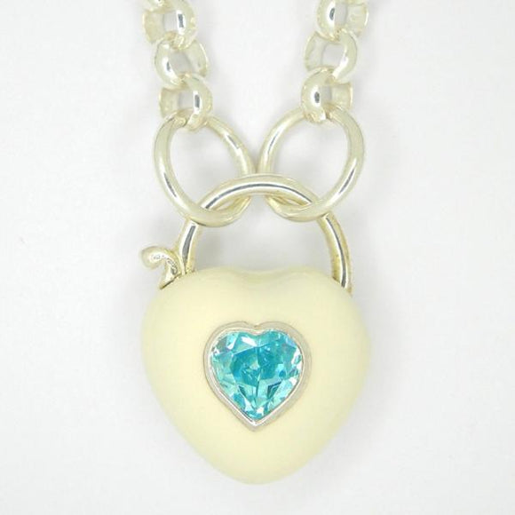 Heart Padlock necklace, White enamel blue zirconia