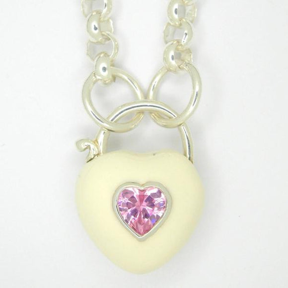 Heart Padlock necklace, White enamel pink zirconia