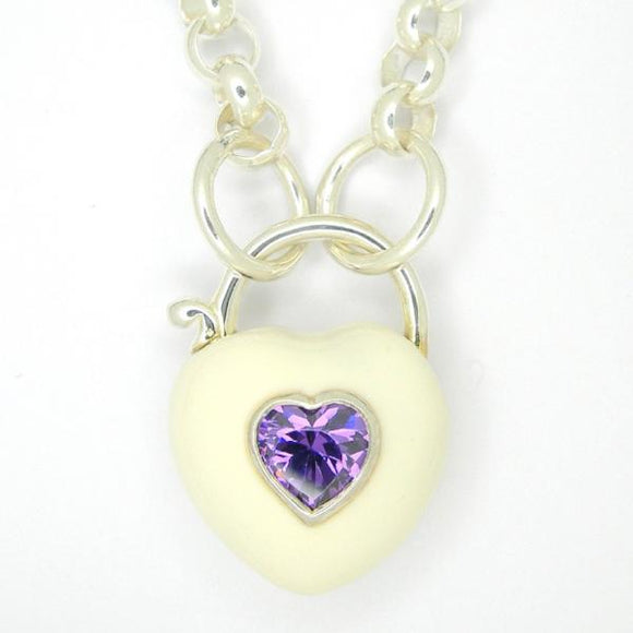 Heart Padlock necklace, White enamel purple zirconia