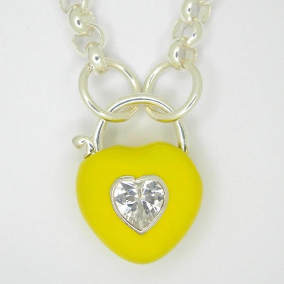 Heart Padlock necklace, Yellow enamel white zirconia