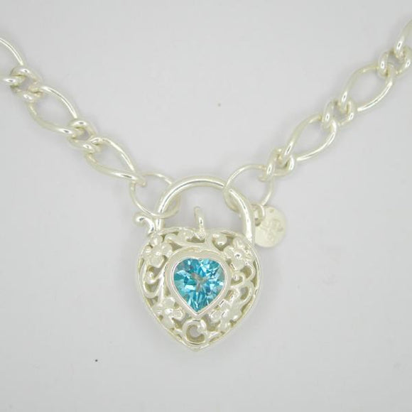 Filigree Heart Padlock necklace Blue topaz