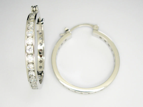 Hoop CZ earrings.