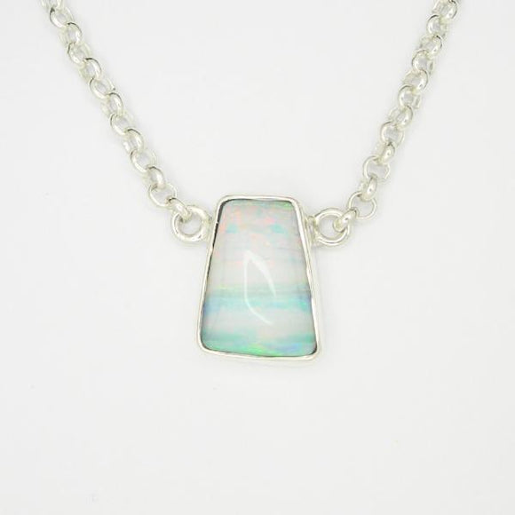 Handmade Opal Silver Necklace