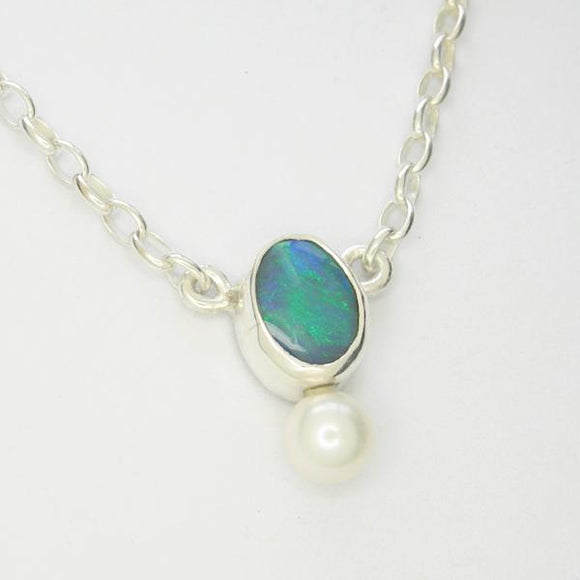 Handmade Opal & Pearl Necklace.
