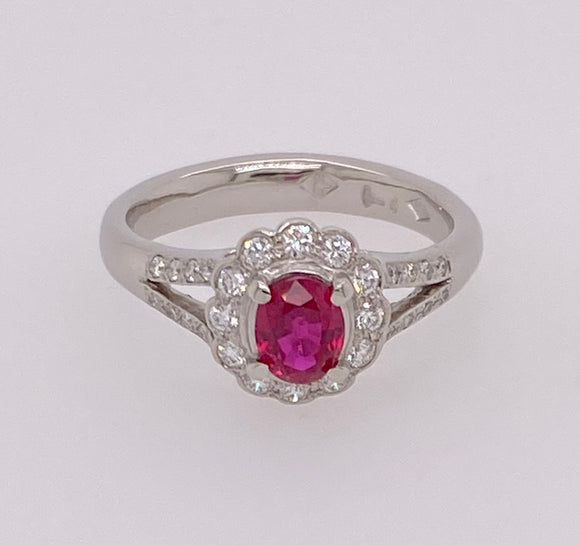 Ruby Diamond Cluster Platinum Ring.
