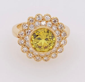 Yellow Sapphire Diamond Double Cluster Gold Ring