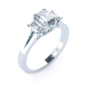 Trilogy emerald cut diamond engagement ring TDW125