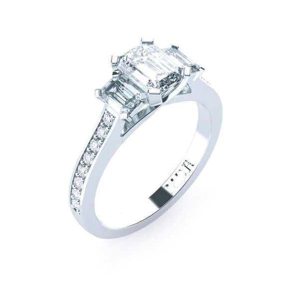 Trilogy emerald cut diamond engagement ring TDW175