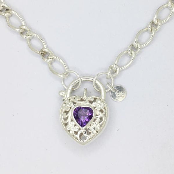 Filigree Heart Padlock necklace, Amethyst