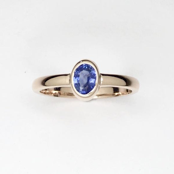 Ceylon sapphire rose gold stackable ring