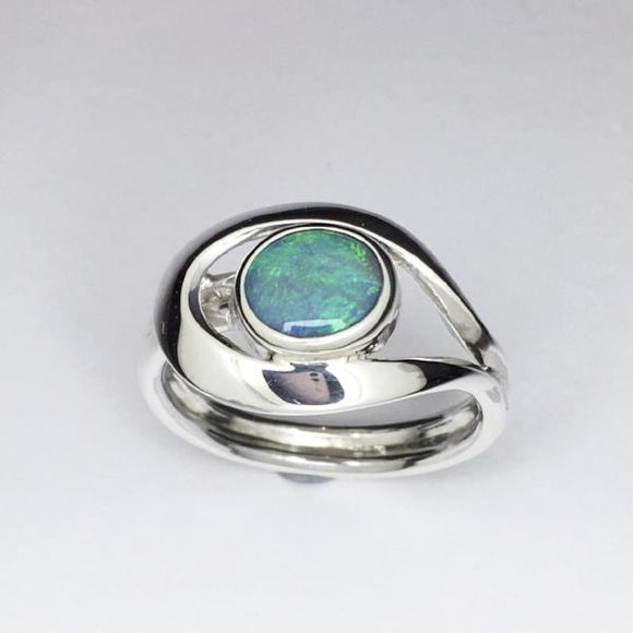 Handmade opal silver ring, Genuine solid lightning ridge Opal