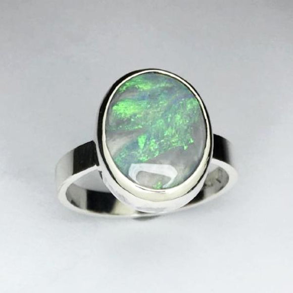 Handmade opal silver ring, 3.96ct solid lightning ridge opal