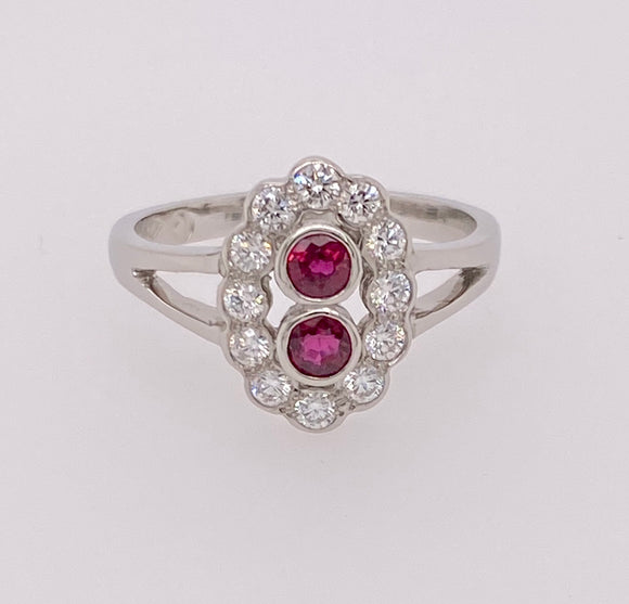 Natural Ruby Diamond Cluster Platinum Ring.