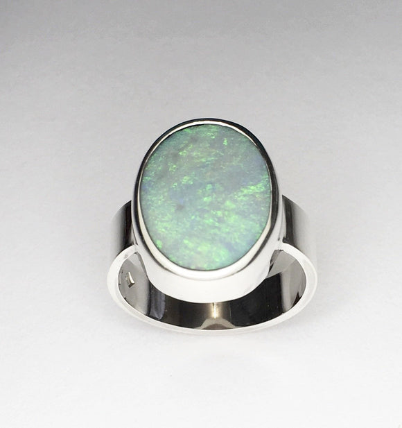 Handmade opal silver ring, 3.77ct solid lightning ridge opal