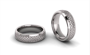 Men's Half round Lattice Wedding Ring