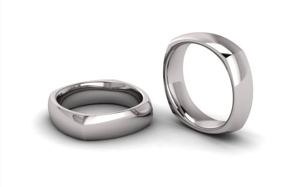 Men's Half round Square Wedding Ring