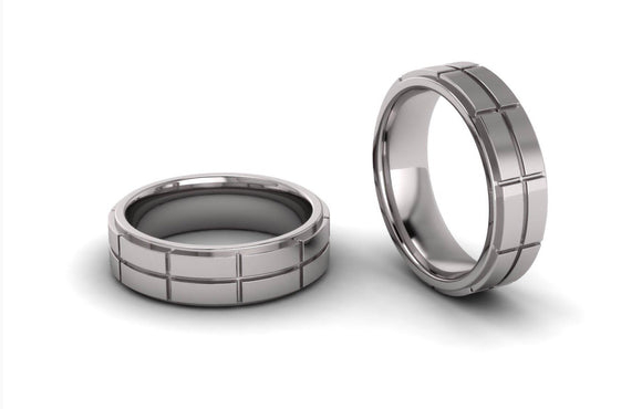Men's Double Row Brick Wedding Ring